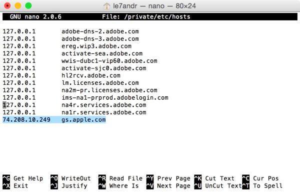 Типичный вид файла hosts