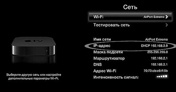 ip адрес в Apple TV