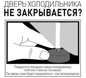 Передние ножки холодильника регулируются по высоте.