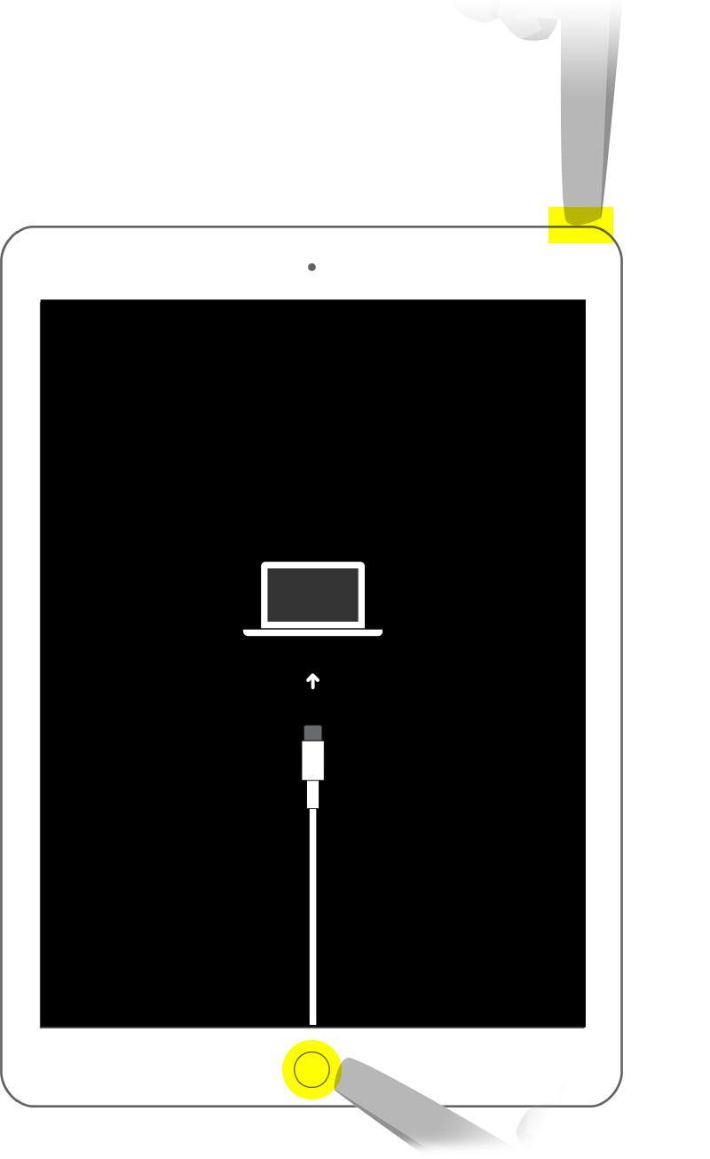 Перевод iPad с кнопкой «Домой»в режим восстановления